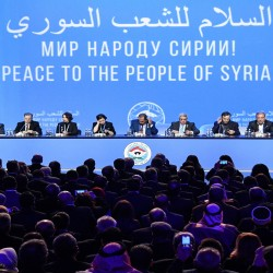 Delegates attend a plenary session at the Congress of Syrian National Dialogue in Sochi on January 30, 2018. / AFP PHOTO / Alexander NEMENOV        (Photo credit should read ALEXANDER NEMENOV/AFP/Getty Images)