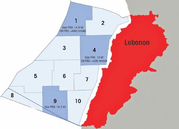 خارطة تبين البلوكات النفطية في مياه لبنان الاقليمية بما فيها البلوك 8 و9 موضوع النزاع مع اسرائيل